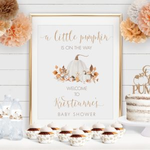 Printable Ivory Pumpkins Baby Shower Poster