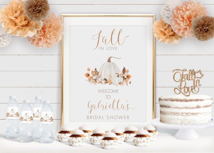 Printable Ivory Pumpkins Bridal Shower Poster