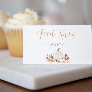 Printable Ivory Pumpkins Buffet/Place Cards
