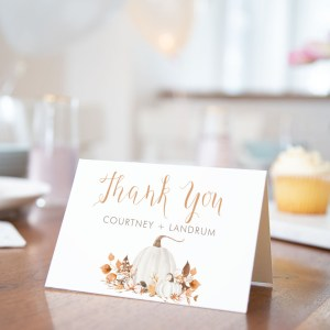 Printable Ivory Pumpkins Thank You Card