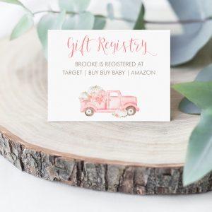Printable Pink Pumpkin Truck Gift Registry Card