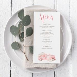 Printable Pink Pumpkins Truck Menu Card