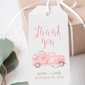 Printable Pink Pumpkin Truck Thank You Tags