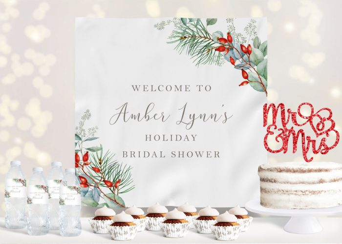 Printable Christmas Greenery Baby Shower Backdrop