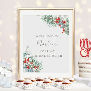 Printable Christmas Greenery Bridal Shower Poster