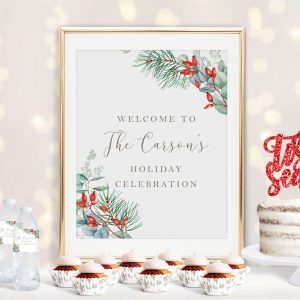 Printable Christmas Greenery Holiday Party Poster