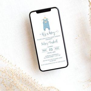 Editable Blue Onesie Smart Phone Invitation