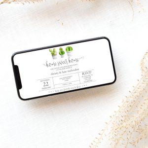 Editable Cactus Housewarming Smart Phone Invitation