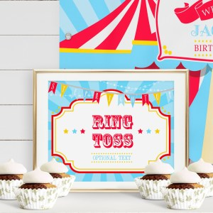 Printable Circus/Carnival Game Sign- Bright Blue