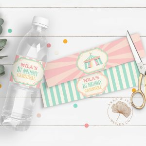 Printable Pink & Mint Circus/Carnival Party Drink Labels