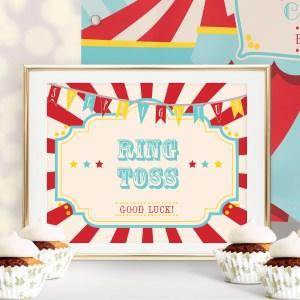 Printable Circus/Carnival Game Sign- Dark Red