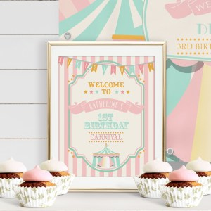 Printable Circus/Carnival Welcome Sign- Pink & Mint