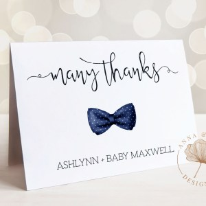 Printable Thank You Card- Navy Bow Tie