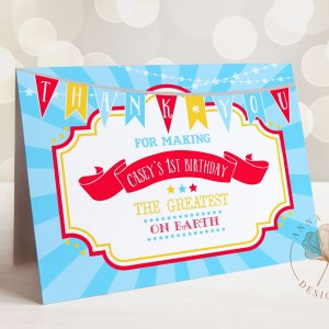 Printable Bright Red Circus/Carnival Thank You Card- Blue Sunburst