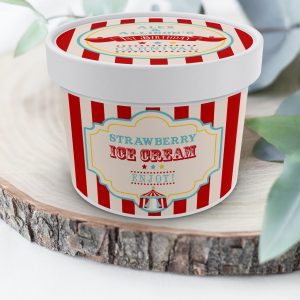 Printable Dark Red Circus/Carnival Ice Cream or Treat Tub Labels- Red Stripes