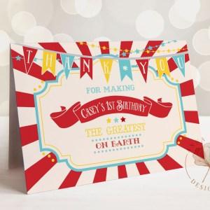 Printable Dark Red Circus/Carnival Thank You Card- Red Sunburst