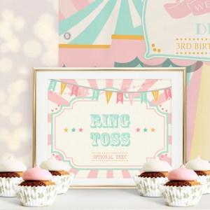 Printable Circus/Carnival Game Sign- Pink & Mint
