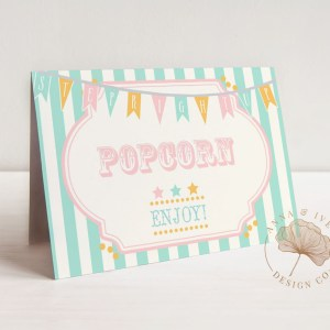 Printable Pink & Mint Circus or Carnival Buffet/Food/Place Cards- Mint Stripes