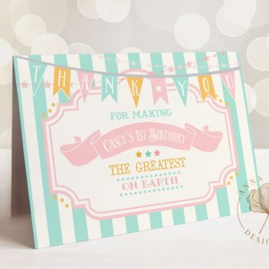 Printable Pink & Mint Circus/Carnival Thank You Card- Mint Stripe