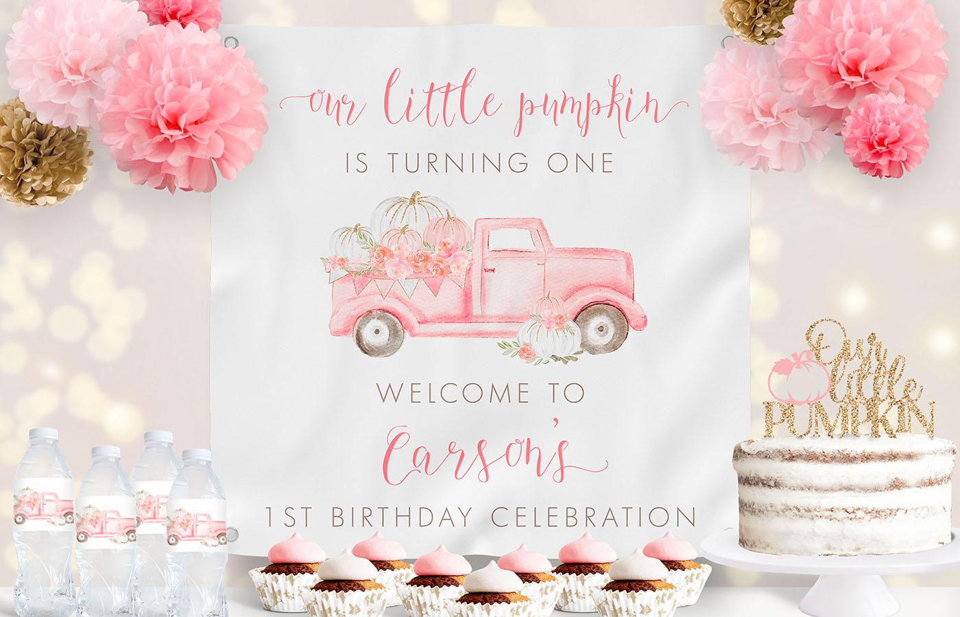 Pink Pumpkin Truck Birthday Backdrop Display