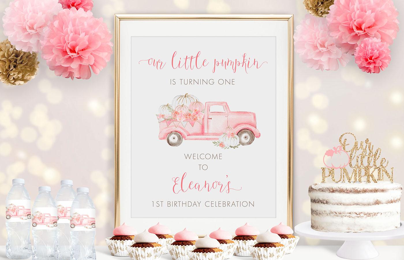 Pink Pumpkin Truck Birthday Poster Display