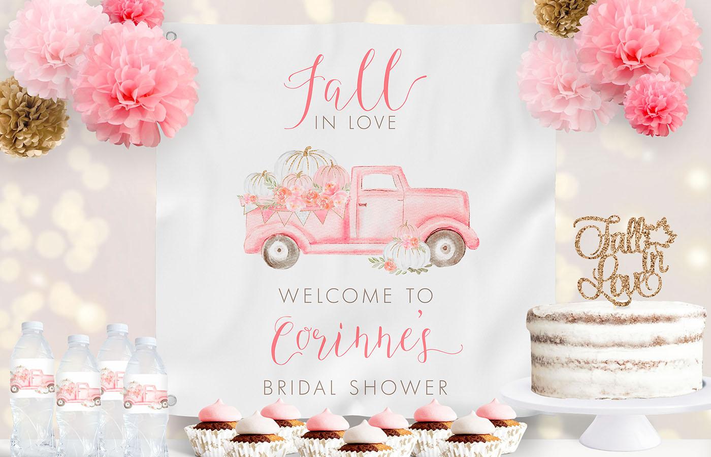 Pink Pumpkin Truck Bridal Shower Backdrop Display
