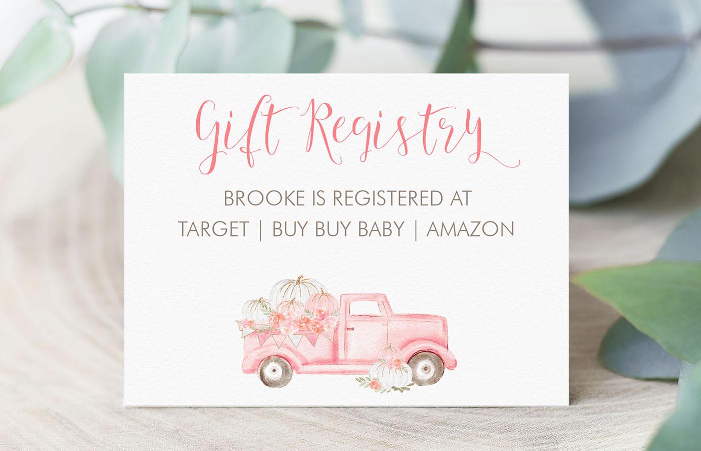Pink Pumpkin Truck Gift Registry Card Display