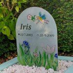 glazen grafsteen met persoonlijke figuratie duurzaam in glas