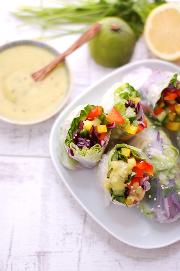 Vegetable Spring rolls with Lime and Coconut Dressing