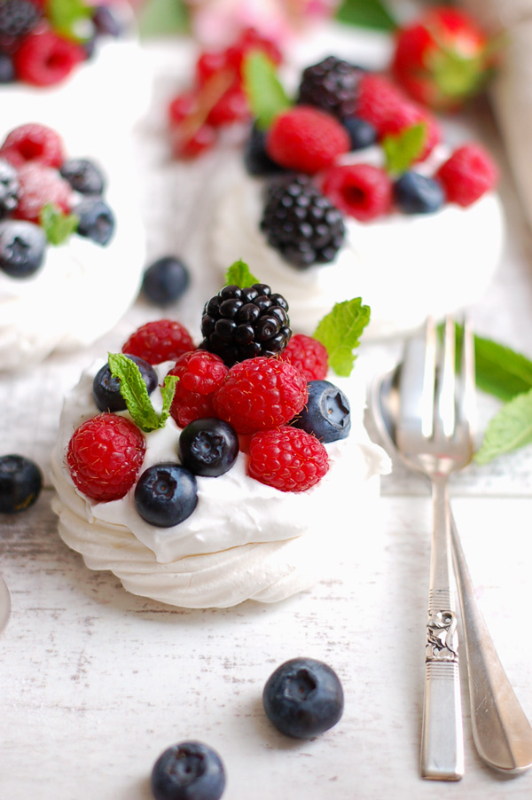 Berry Pavlovas made with aquafaba