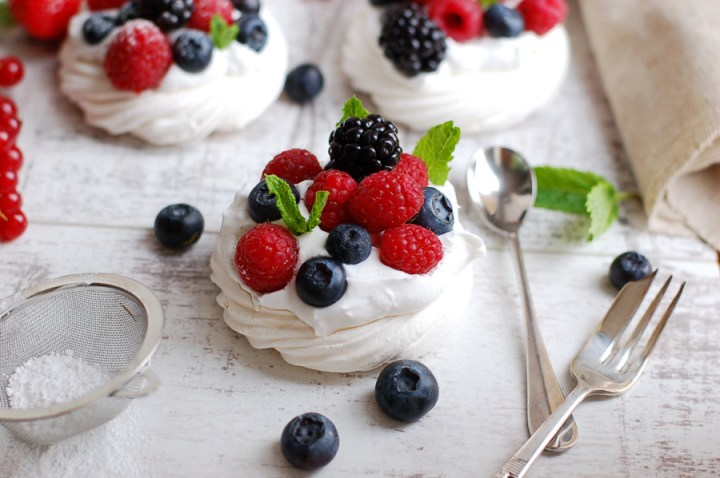 Vegan Berry Pavlovas made with aquafaba