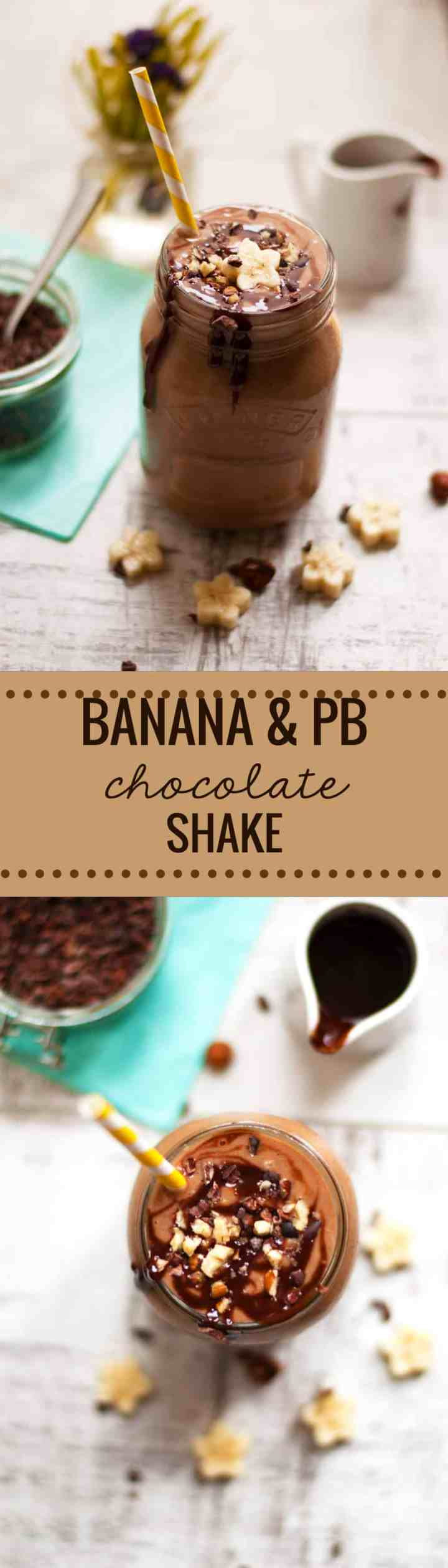 Quick recipe for delicious, creamy and thick chocolate shake with bananas and peanut butter. Made with only 5 ingredients and ready in 5 minutes, you will love it! via @ annabanana.co