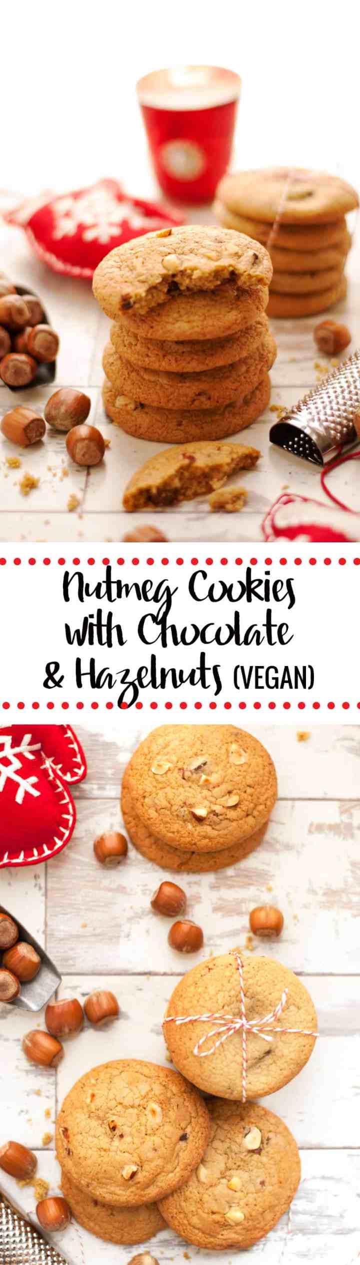 Nutmeg Cookies with Chocolate and Hazelnut. Perfect Christmas Cookie, crisp on the outside, soft and chewy inside | via @annabanana.co