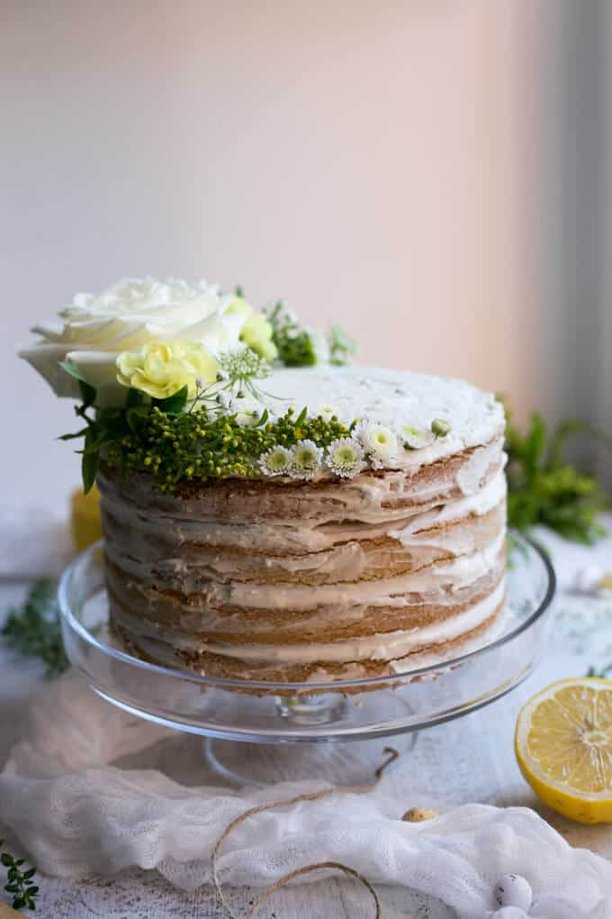 Layered Vegan Lemon and Thyme Cake Recipe| via @annabanana.co