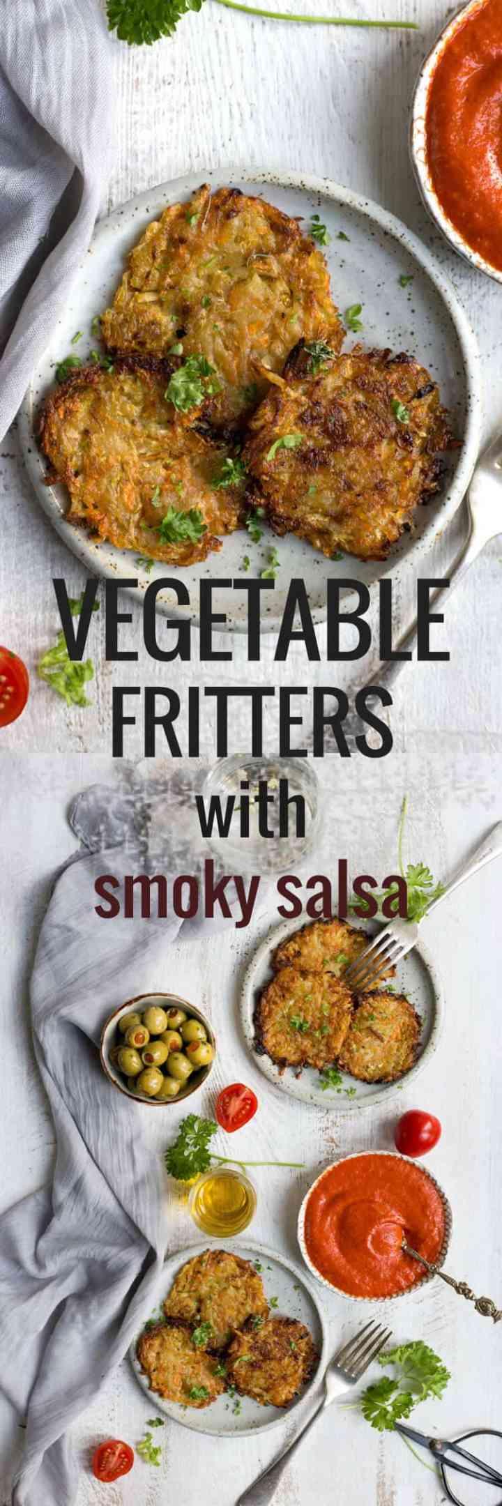 Vegetable fritters with smoky tomato salsa | via @annabanana.co