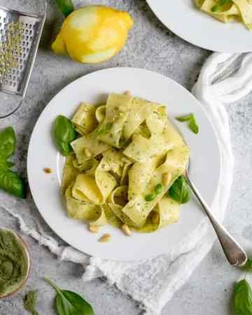 Lemon Pappardelle with basil and kale pesto | via @annabanana.co