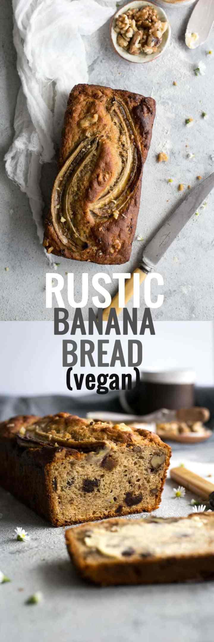 Delicious, rustic banana bread recipe, 100% vegan! | via @annabanana.co