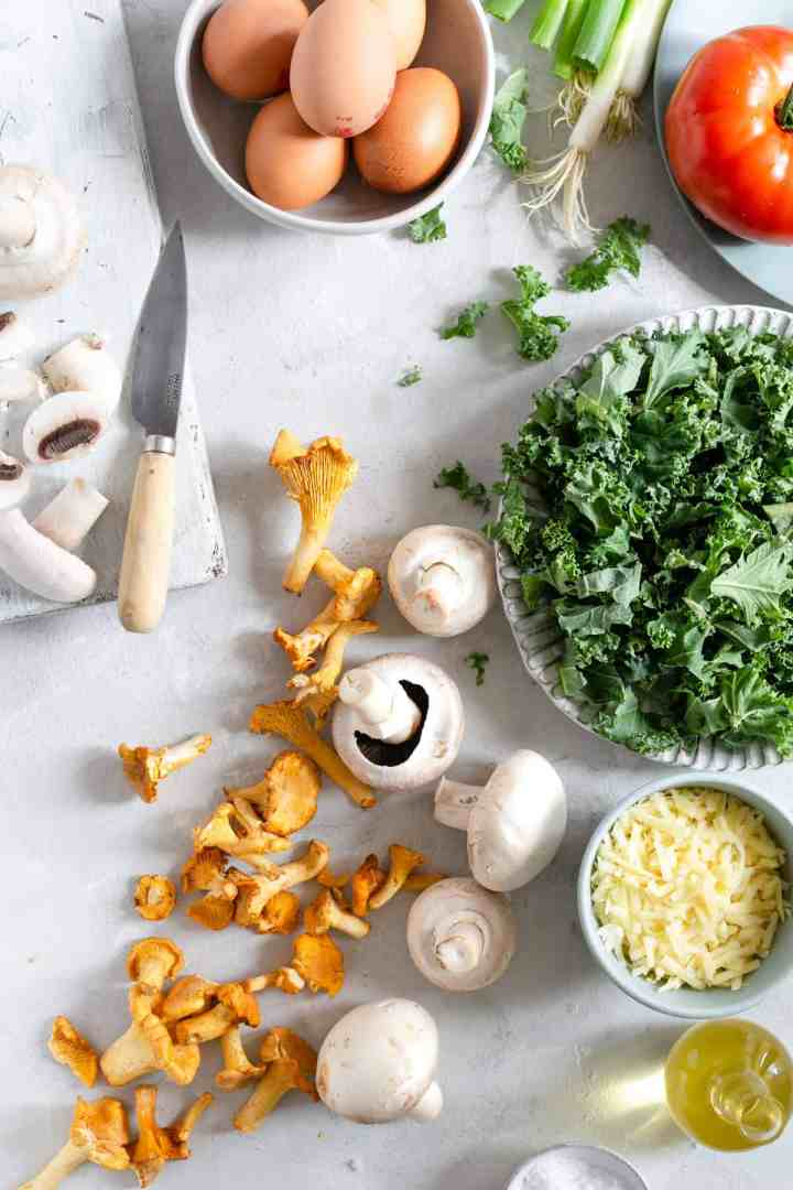 Ingredients for mushroom and kale frittata