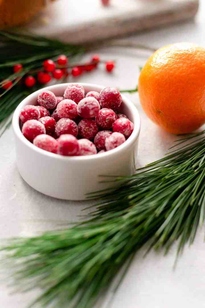 A side shot of a small bowl with sugar covered cranberries