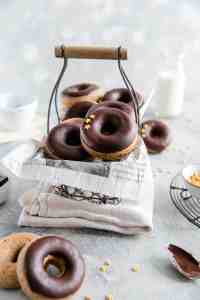 small wired basket filled with baked doughnuts