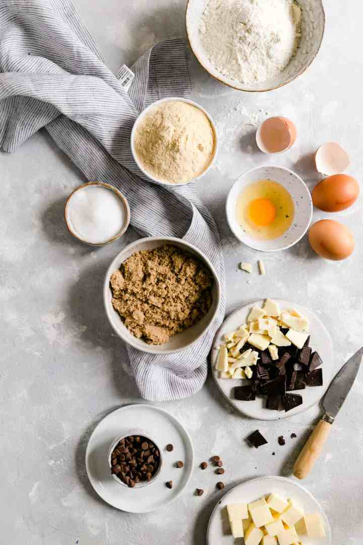 top view of the ingredients for skillet cookie