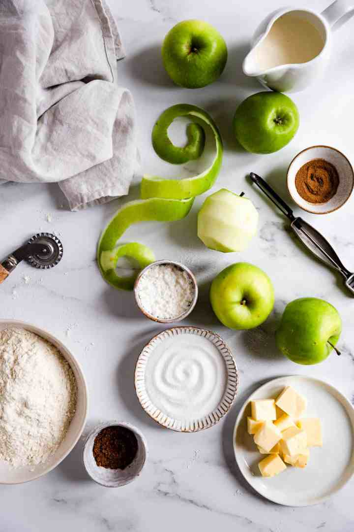 top view of some of the ingredients for an apple pie