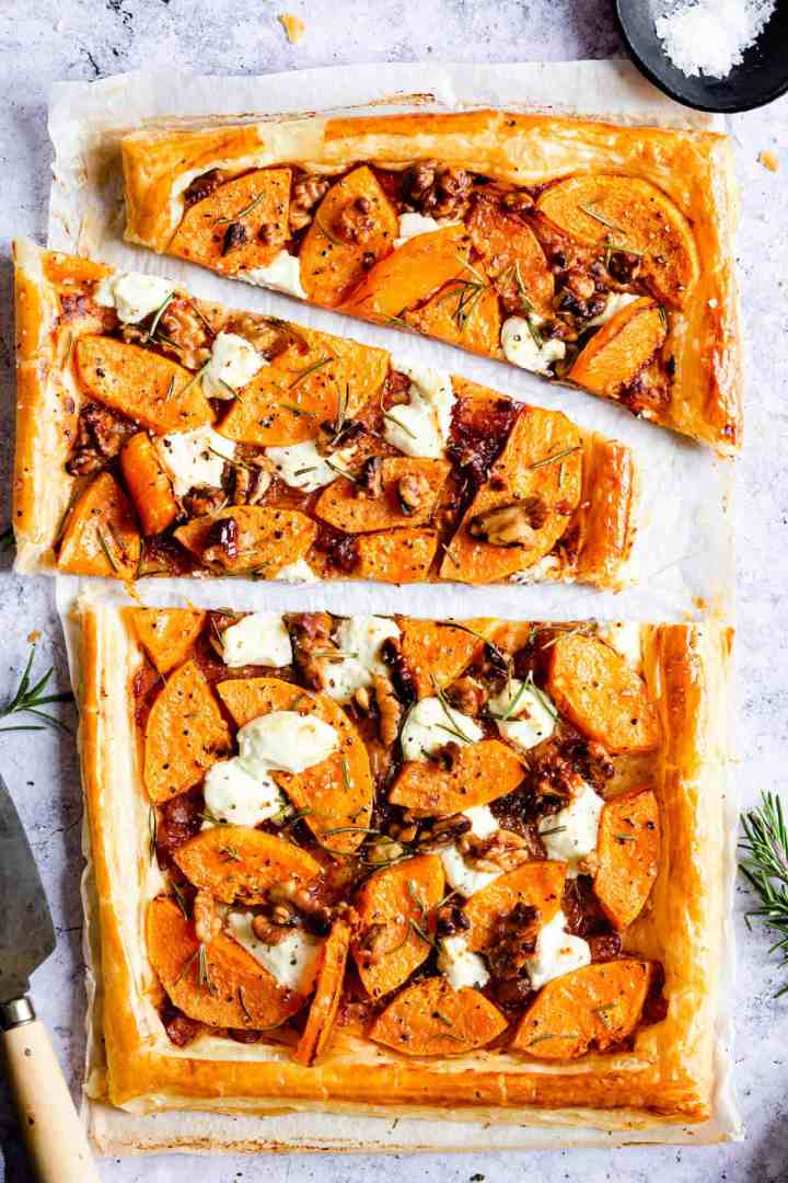 close up top view of sliced butternut squash tart