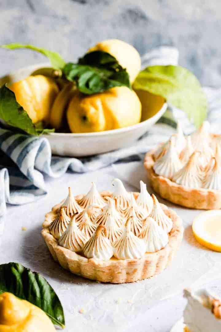 side close up of a small lemon meringue pie