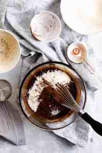 overhead shot of a bowl with flour and cocoa powder