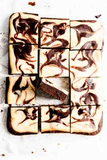 overhead shot of chocolate brownies with one slice turned on side