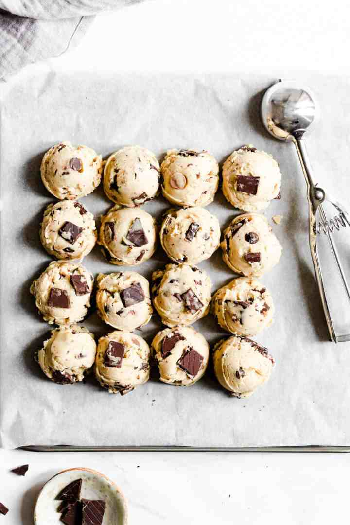 top view of balls of cookie dough on baking tray