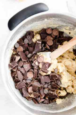 close up of the bowl with cookie dough and chocolate chips