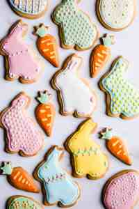 overhead shot of Easter sugar cookies in shape of bunnies