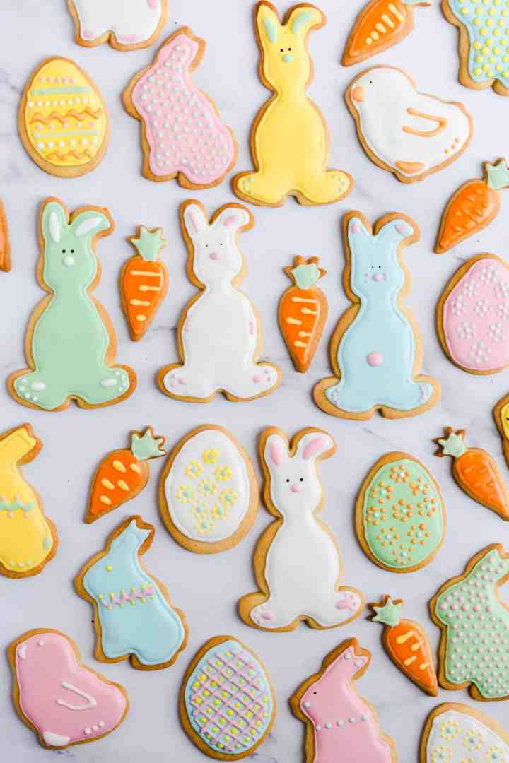 top view of colourful cookies in different shapes